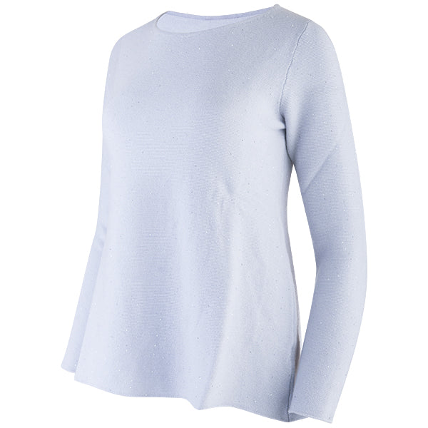 Sequin Round Neck Pullover in Vapor