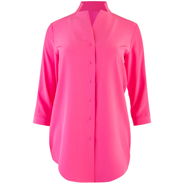 Inverted Notch Collar Tunic in Fuchsia