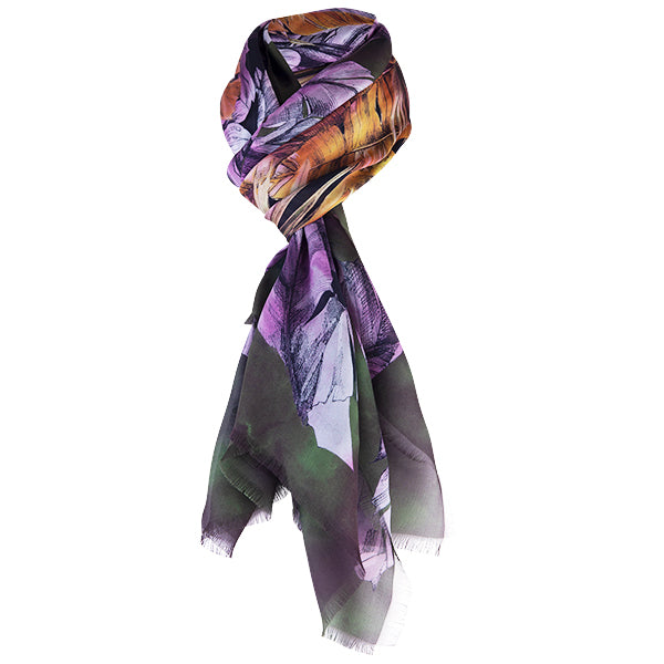 Printed Square Scarf with Fringe edge in Palm Fans