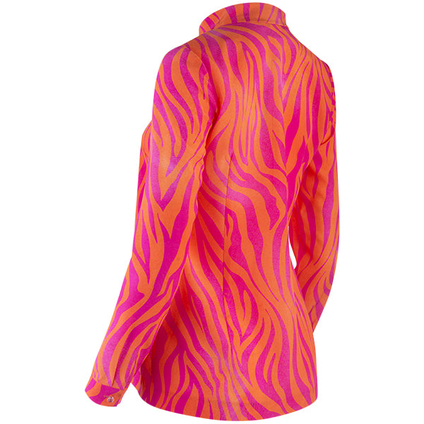 Zip Front Camilla Tunic in Orange/Fuchsia Zebra