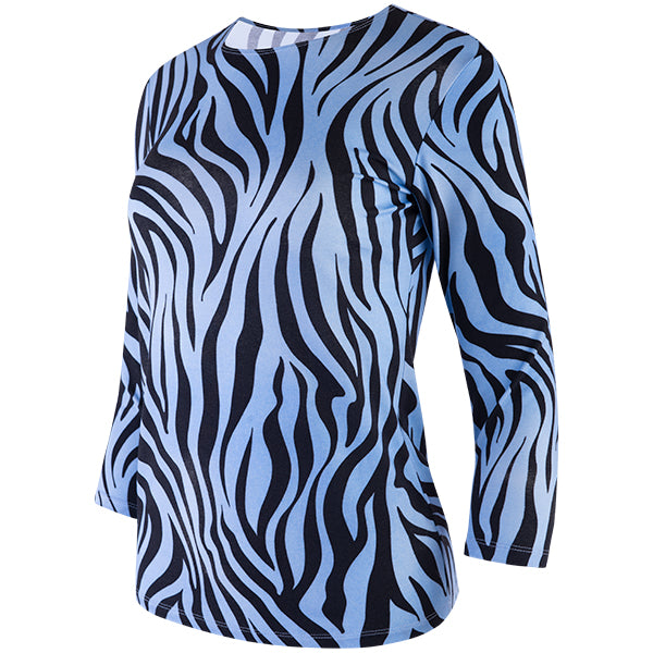 Shaped Knit Tee in Azul/Nero Zebra