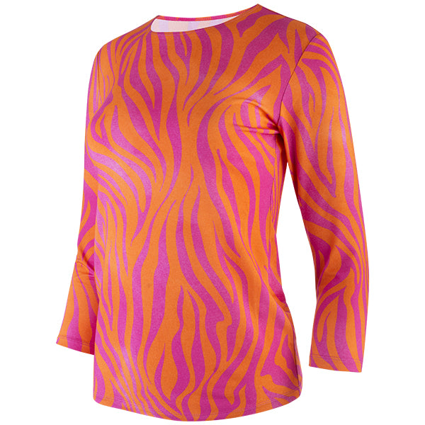 Shaped Knit Tee in Orange/Fuchsia Zebra