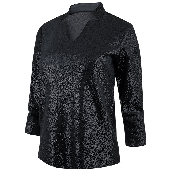 Sequin Notch Collar Velvet Tee in Black