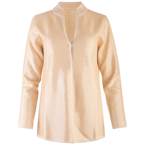 Sequin Inverted Notch Collar Cardigan in Clay