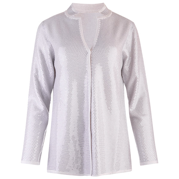 Sequin Inverted Notch Collar Cardigan in Alabaster