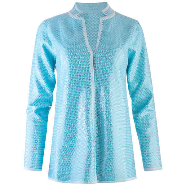 Sequin Inverted Notch Collar Cardigan in Turquoise
