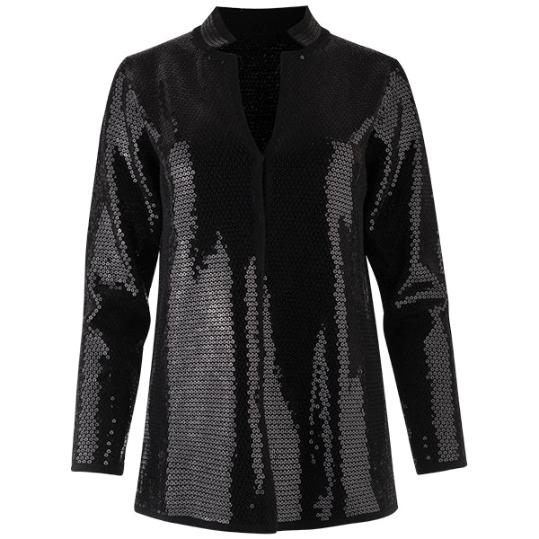 Sequin Inverted Notch Collar Cardigan in Black