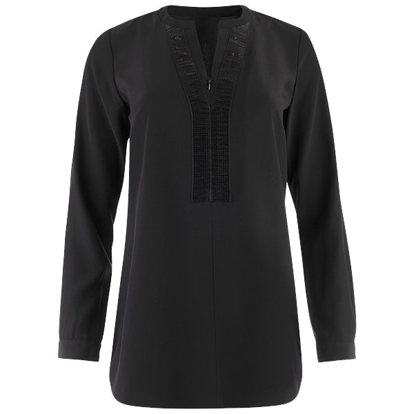 Sequin Placket Zip Tunic in Black