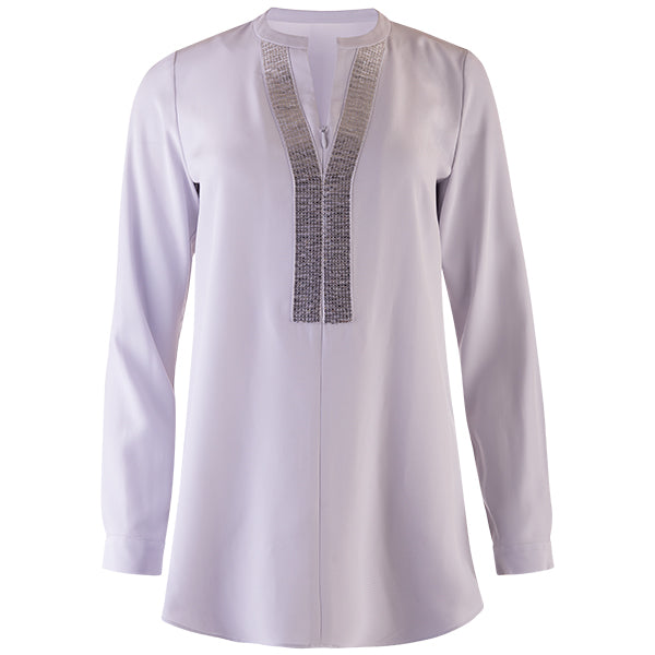 Sequin Placket Zip Tunic in Vapore