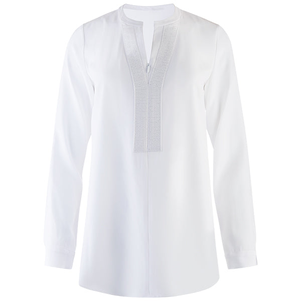 Sequin Placket Zip Tunic in White