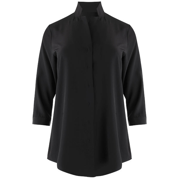 Inverted Notch Collar Tunic in Black
