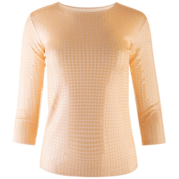 Sequin Shaped Knit Tee in Clay