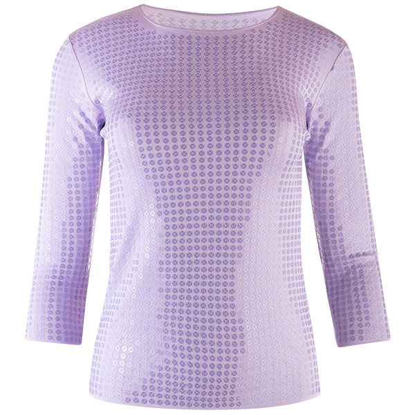 Sequin Shaped Knit Tee in Lilac