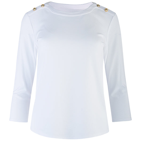 Round-neck Shoulder Trim Tee in White