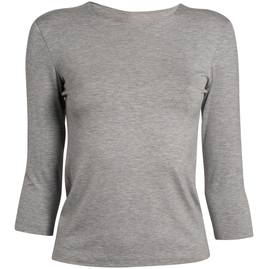 Shaped Melange Knit Tee in Light Grey Melange