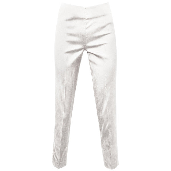 Dupioni Silk / Lycra Side Zip Pant in White