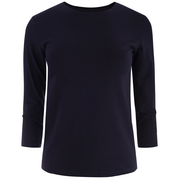 Shaped Knit Tee in Navy