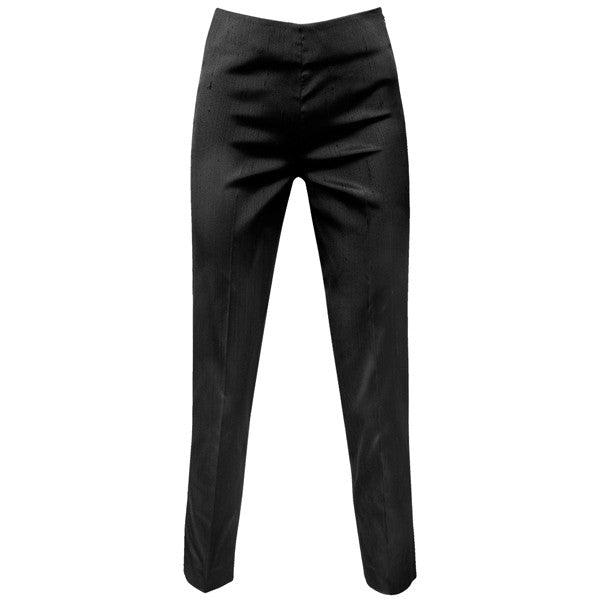 Dupioni Silk / Lycra Side Zip Pant in Black