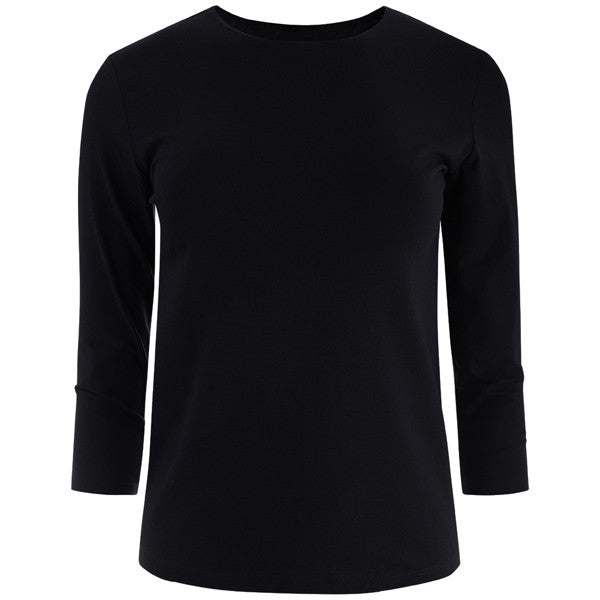 Shaped Knit Tee in Black