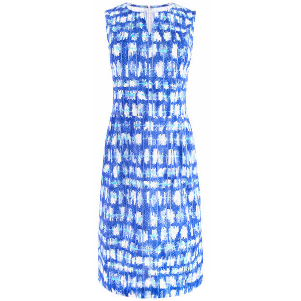 Split Neck Sleeveless Jersey Dress in Soundwaves