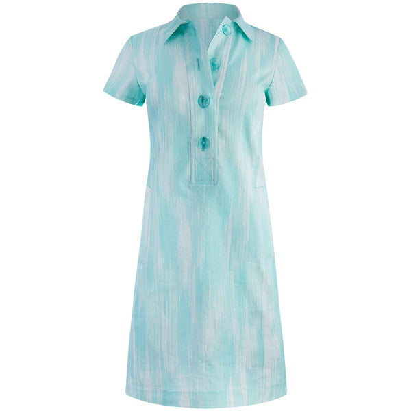 Classic Printed Linen Shirt Dress in Turquoise Chine