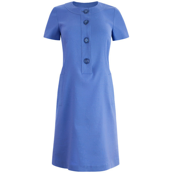Neckband Linen Shift Dress in Periwinkle