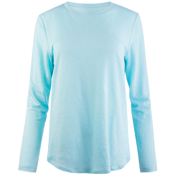Linen Yoke Relaxed Fit Tee in Turquoise