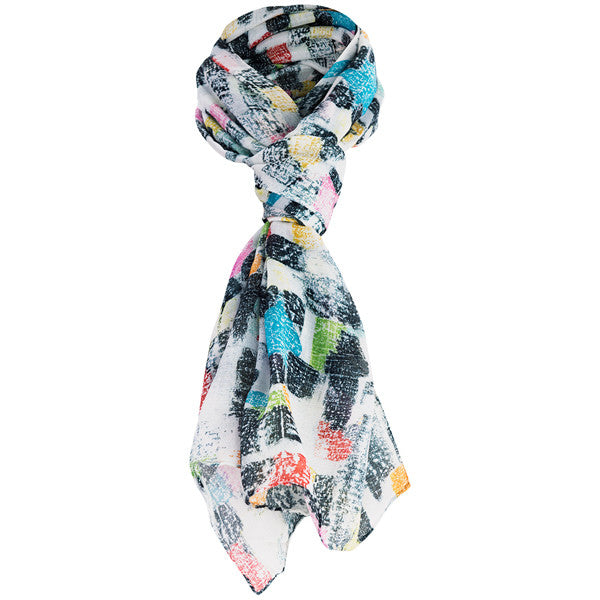 Printed Modal Cashmere Scarf in Color Medley