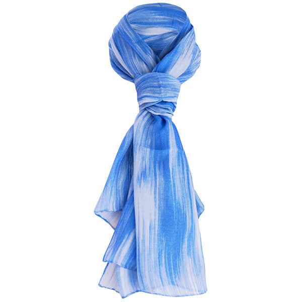 Printed Modal Cashmere Scarf in Periwinkle Chine