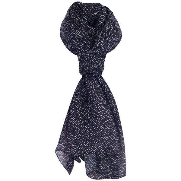 Printed Modal Cashmere Scarf in Black with White Dot