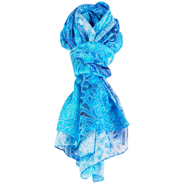 Printed Modal Cashmere Scarf in Deep Ocean