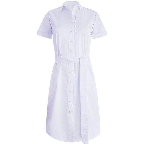 Ladder Stitch Shirt Dress in White