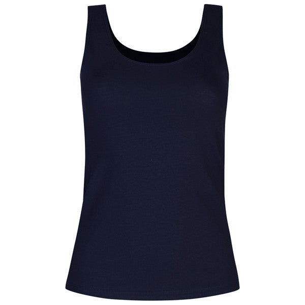 Cotton Stretch Long Tank Top in Navy
