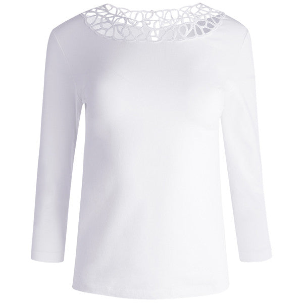 Round Lace Neck Tee in White