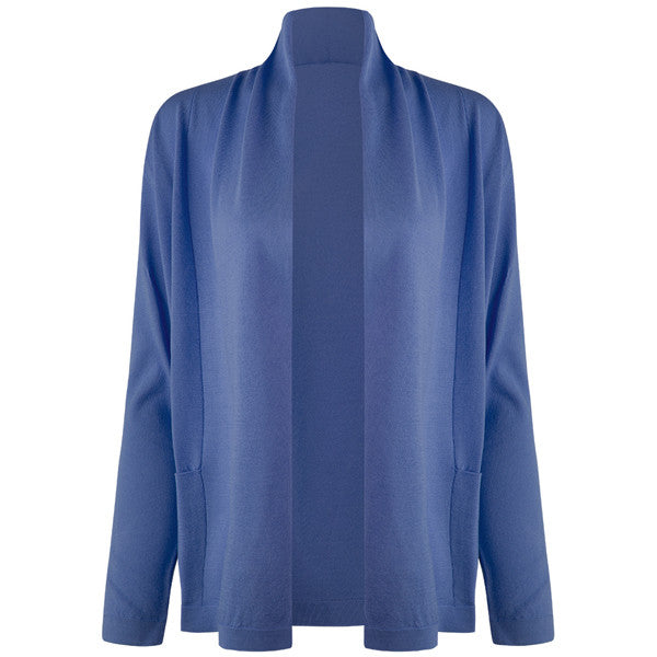 Long Sleeve Roll Collar Cardigan in Periwinkle