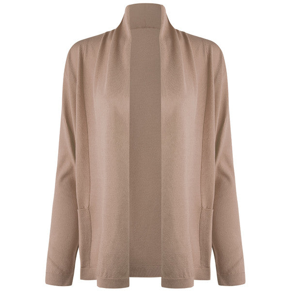 Long Sleeve Roll Collar Cardigan in Sabbia