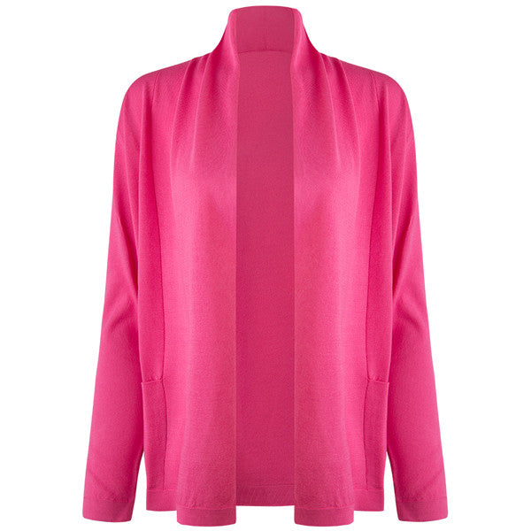 Long Sleeve Roll Collar Cardigan in Pink