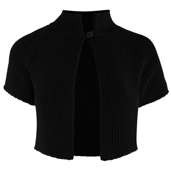Raglan Sleeve 1-Button Cardigan in Black