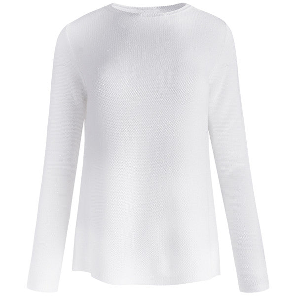 Cotton Sequin Round Neck Pullover in White
