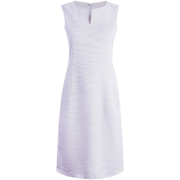 Zebra Stretch Knit Split Neck Dress in White