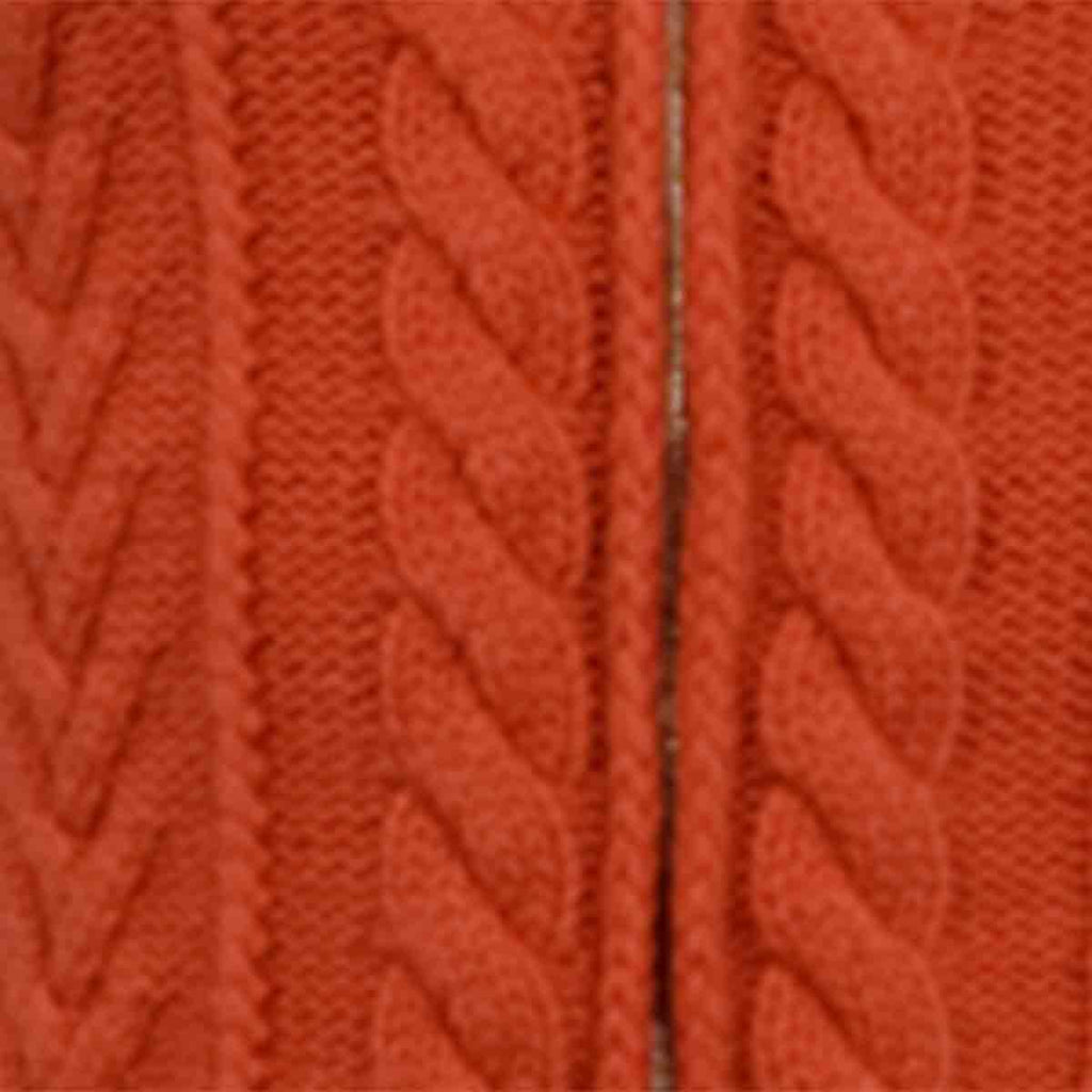 Cashmere Cable Zip in Orange