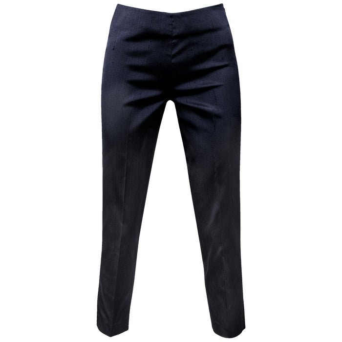 Dupioni Silk/Lycra Capri in Navy