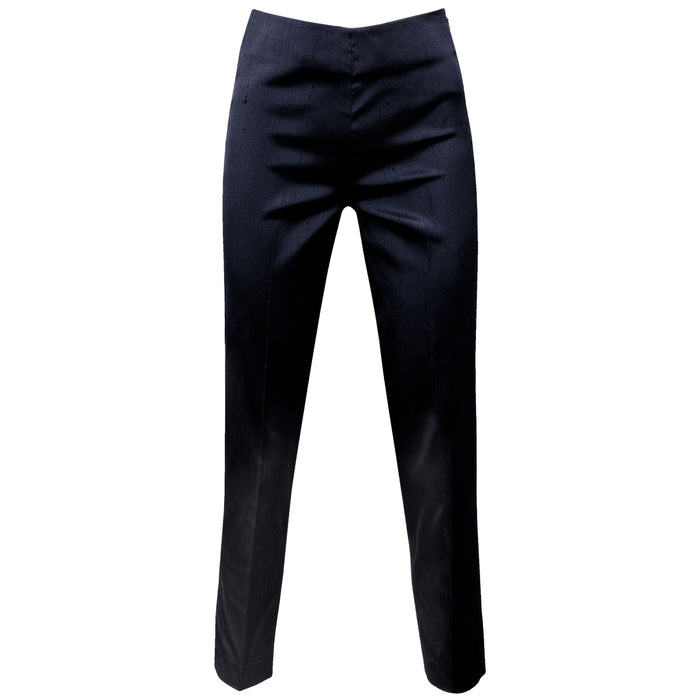 Dupioni Silk/Lycra Side Zip Pant in Navy