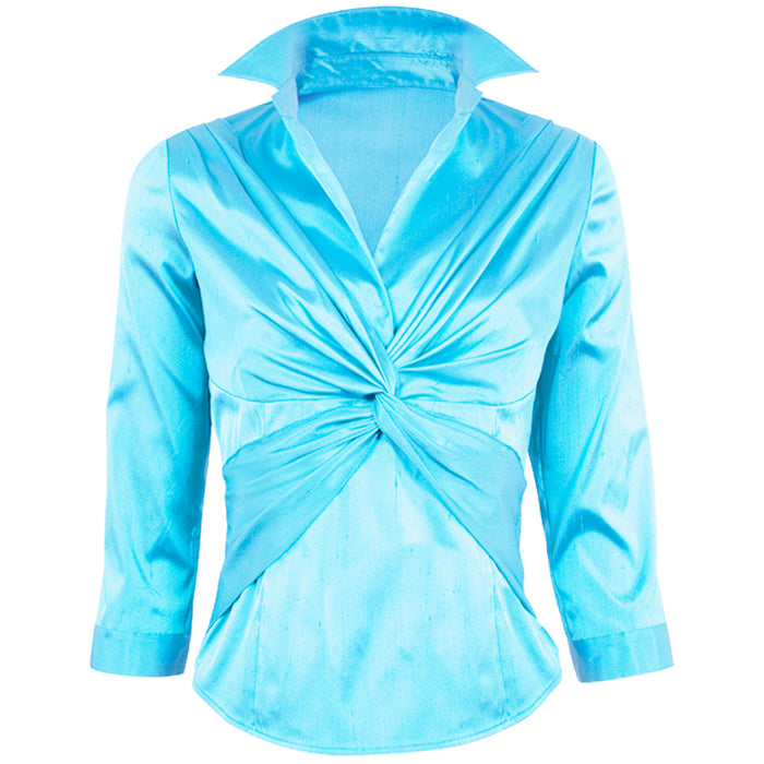 Dupioni Criss Cross Blouse in Turquoise
