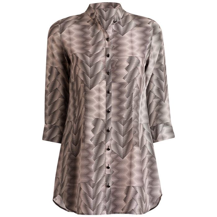 Crepe De Chine St Martin Blouse in Optical Illusion