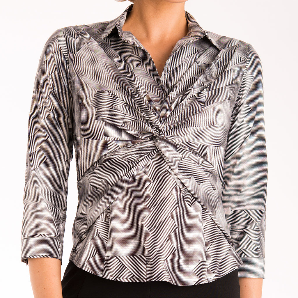 Criss Cross Blouse in Optical Illusion