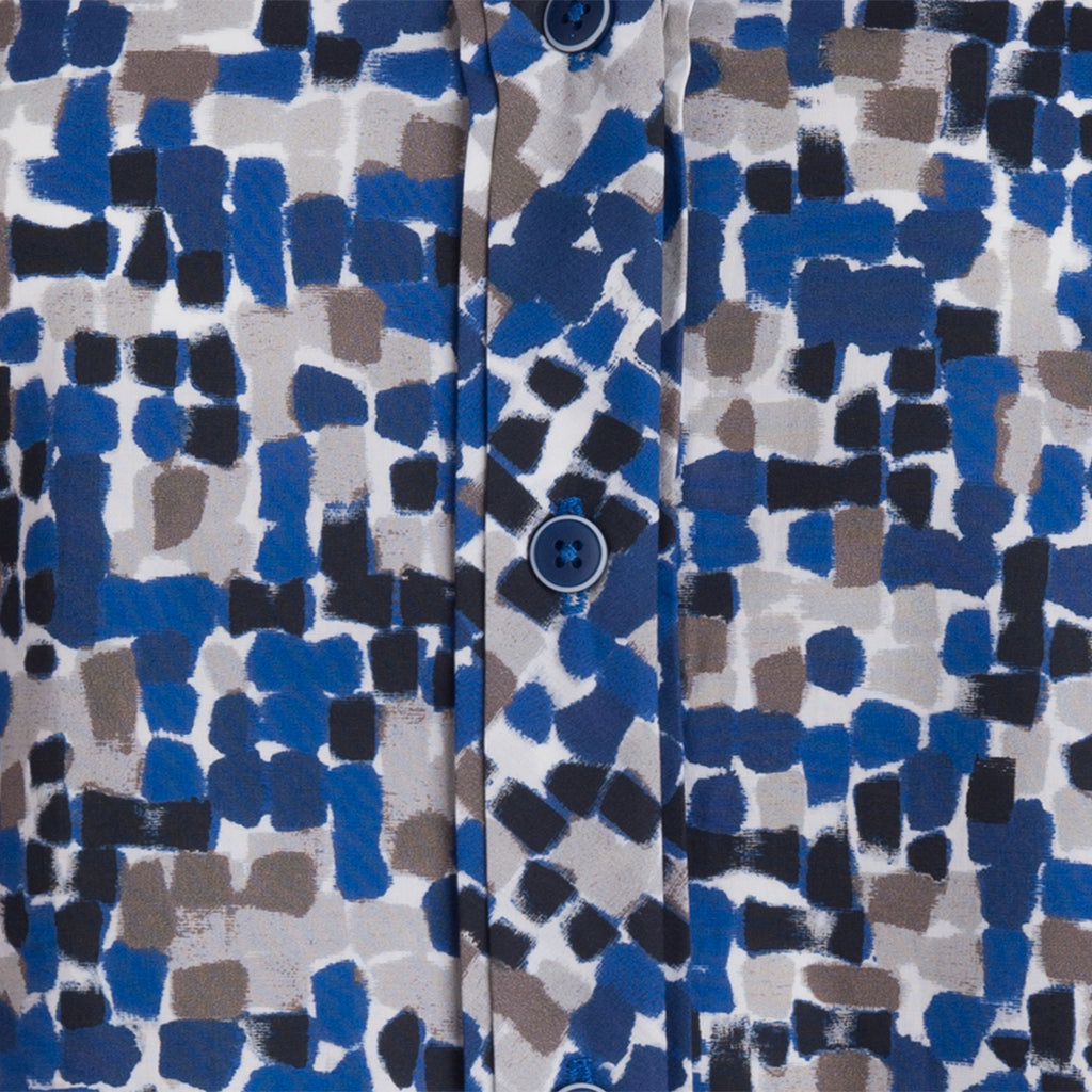 V Placket Cotton-Stretch in Mosaic Tile