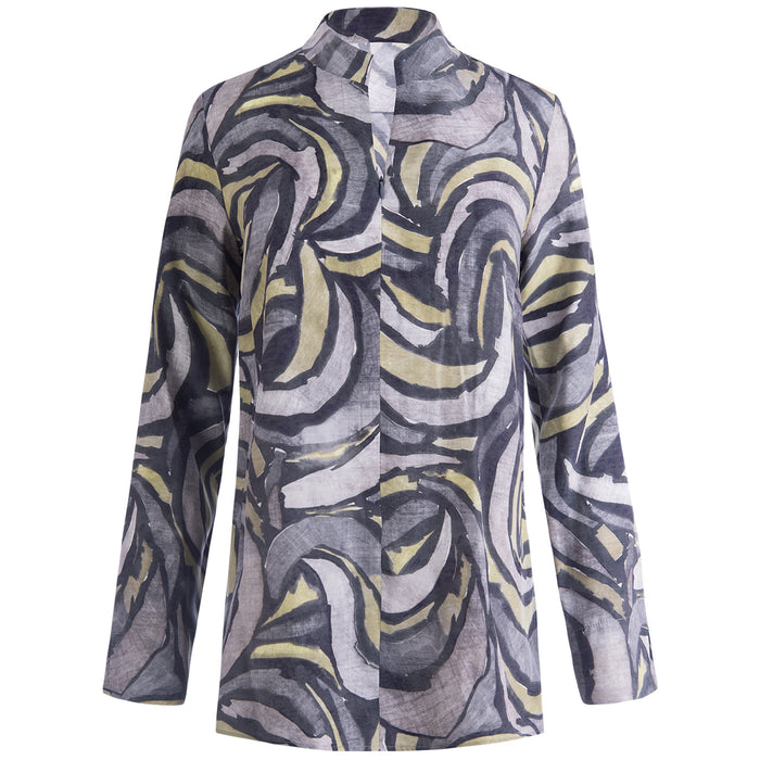 Zip Front Hi-Collar Tunic in Grey Modern Print