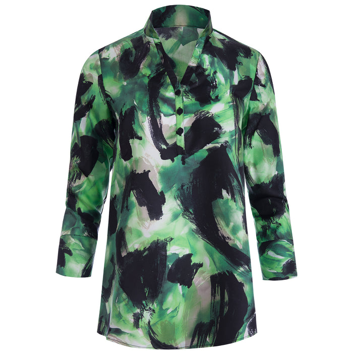 Silk Twill Polo Collar Tunic in Green Abstract