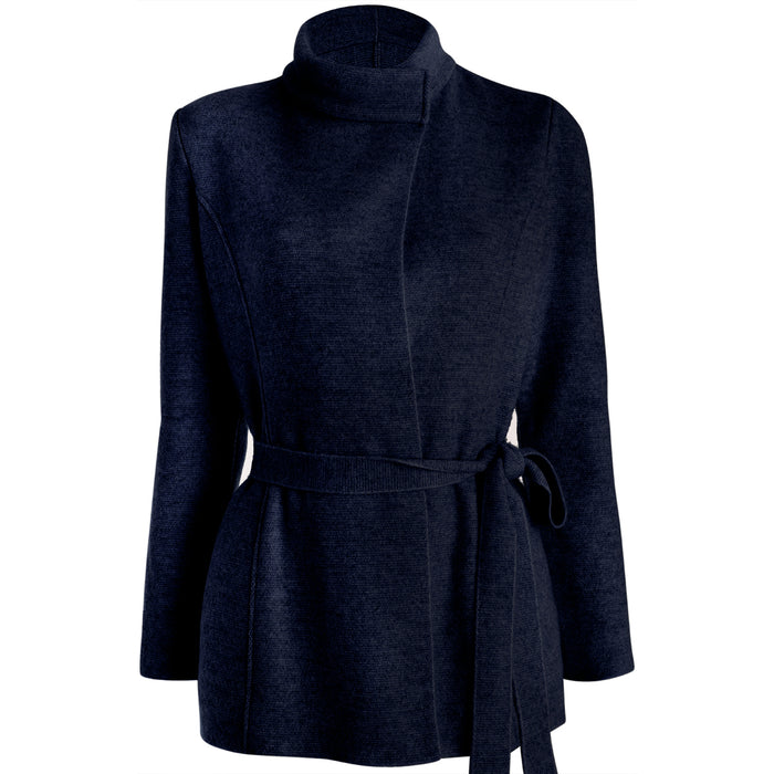 Long Belted Cardigan in Navy